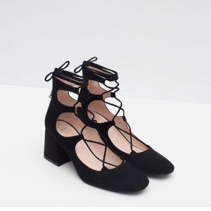 Zara Trafaluc Lace Up Block Heels